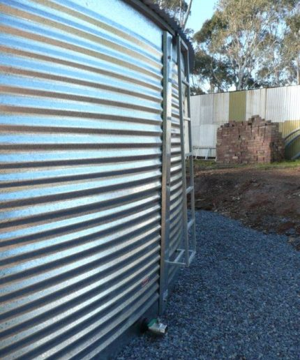 ladder access aqualine steel bushmans rainwater tanks australia buy built on site water tank
